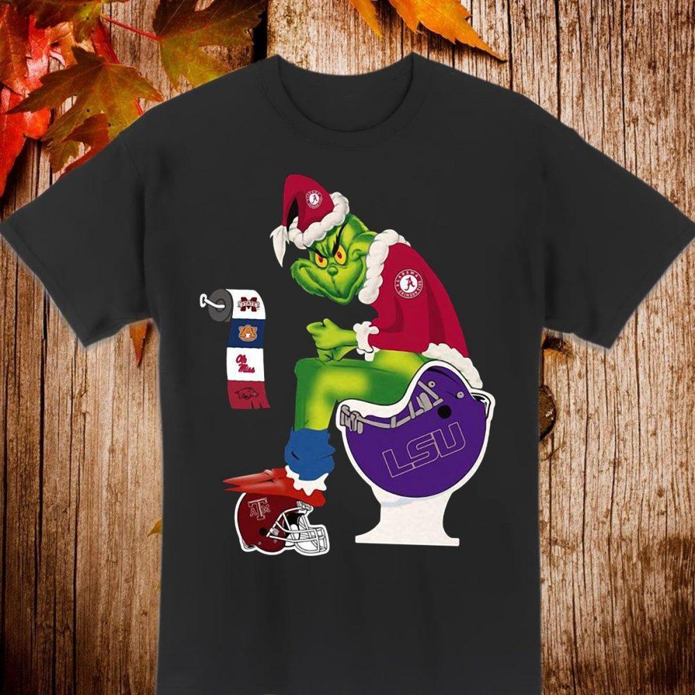 Grinch Santa Alabama Crimson tide shit on LSU tigers toilet Shirt