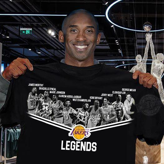 Official Los Angeles Lakers Legends Players Signatures Shirt