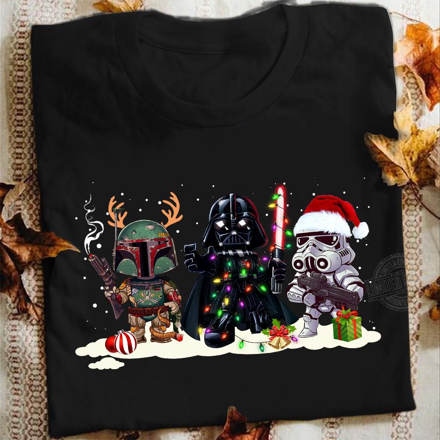 Star Wars Boba Fett Darth Vader And R2-D2 Santa Christmas Shirt